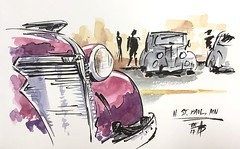 Trying out my new kuretake brush pen at the car show #pleinair #watercolor #sketch #urbansketchers #nsphistorycruzercarshow (Tim Becker) Tags: trying out new kuretake brush pen car show pleinair watercolor sketch urbansketchers nsphistorycruzercarshow