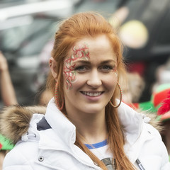 Portrait of a Lady (Frank Fullard) Tags: frankfullard fullard candid street portrait red redhead hair beauty hoops mayo achill irish ireland parade castlebar smile fan football gaa stangelas school teacher