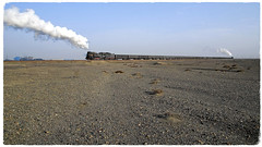 Emptiness (Welsh Gold) Tags: js locomotives 8358 8366 topandtail fringes gobi desert coal train sandaoling er jing colliery xinjiang province china