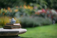 I'm a little teapot... (V Photography and Art) Tags: teapot mini books antique light bokeh swirl nature outdoors sunlight naturallight petzval85mm depthoffield dof colour vibrant lifestyle