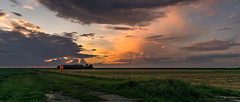 Red Barn Sunset (mesocyclone70) Tags: shower showers storm storms stormchaser stormchase sunset sunrise dusk holland netherlands beautifull colour colours colors color orange yellow view scenic scenery scenics scenicsnotjustlandscapes wide pano panorama colourfull colorfull dutch summer 2017 sky field skyscape cloud clouds cloudscape landscape