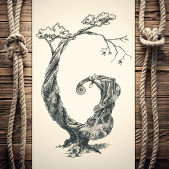 Ghameleon (reXraXon) Tags: art artwork pencilart drawing handdrawing sketch pencilsketch typography lettering handlettering letteringart chameleon tree