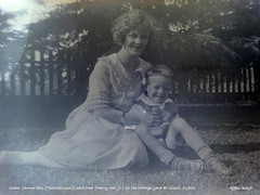 1922 Gram (Anna Feir [Thorsteinson]) and Dad (Harry Feir jr.) in the cottage yard at Gimli, C1922 hjfeir (arbutushilldesign) Tags: 1922 gramannafeirthorsteinson dadharryfeirjr gimli hjfeir