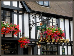 Rose & Crown (magister111) Tags: inghilterra england signs fachwerkhaus halftimbered flowers lamps