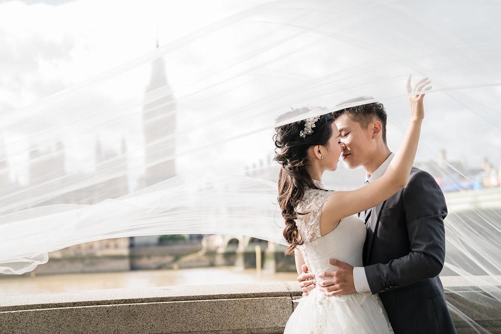 倫敦,婚紗,景點,頭紗,逆光