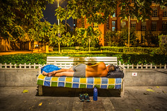 Have a good night! (Phg Voyager) Tags: tianjin china asia sleepy outside homeless boy summer color hot photography phgvoyager leica mp 24mm garden bench shoes sleep boxer city street urban urbanscape park publicpark water sleepingbag rats male dirty feets summilux night light social