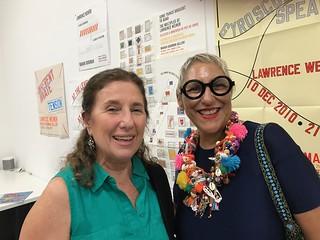 Gallerist Alejandra von Hartz and artist Charo Orquet visiting Exile Books the pop-up artists' bookstore next door to Emerson Dorsch.