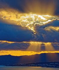 Rain Clouds (Rhodes Coastline - View from Pefkos) Olympus OM-D EM5 & Panasonic G 35-100mm f2.8 Telephoto Zoom) (markdbaynham) Tags: rhodes rodos greece greek hellas hellenic clouds sky colour formation shape landscape view coastline gr grecia greka oly olympus omd em5 csc mirrorless mft evil m43 m43rd micro43 micro43rd rays sunrays lumix lumixer panasonic 35100mm f28 telephoto dodecanese