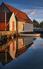 Skudeneshavn, Norway (Vest der ute) Tags: xt2 norway rogaland karmøy sea seaside reflections mirror boat boathouse bluesky summer evening softlight outdoor serene water fav25 fav200