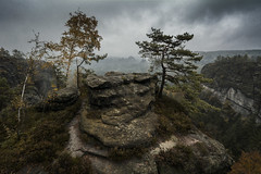 Altar (Tim Camin) Tags: mysterious fog mist misty rock landscape altar trees grey cliff mountain clouds dark nebel felsen landschaft bäume grau düster berg wolken sächsische schweiz saxony switzlerland elbsandsteingebirge