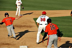 SLIDING INTO THIRD (MIKECNY) Tags: slidde aberdeenironbirds tricityvalleycats thirbase coach astros orioles baseball minorleague nypennleague