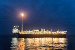 First Oil Early Morning (SPMac) Tags: ghana tullow first oil mv25 offshore sea flare flames burning proffessor john atta mills fpso floating storage production
