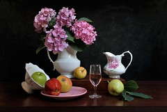 Blending the Grand, the Beautiful, the Gay... (Esther Spektor - Thanks for 12+millions views..) Tags: stilllife naturemorte bodegon naturezamorta stilleben naturamorta composition creativephotography artisticphoto arrangement tabletop fruit apple bouquet flowers hydrangea pitcher bowl plate box leaf ceramics goblet wine glass pattern availablelight reflection white pink green yellow red brown black estherspektor canon coth5