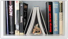 Bookmarks (JuliSonne) Tags: books read reader readingwoman relax education shrink bookmark betweenpages montage