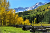 WHEN HEAVEN AND EARTH TOUCH (Aspenbreeze) Tags: sanjuanmountains mountains autumn aspentrees snow snowypeaks mountainpeaks sky bluesky goldenaspens aspens woodfence woodenfence splitrailfence fence nature highsountry bevzuerlein aspenbreeze moonandbackphotography