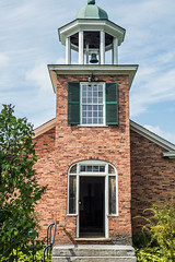 Schoolhouse (Myhealthyescape) Tags: oneroomschoolhouse brick burlington vermont shelburnemuseum bushes tree steps stairs bell belltower shutters