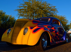 Let the Sunshine In (oybay©) Tags: goodguysscottsdale goodguys fordgalaxie galaxie galaxie500 enormous big wheelbase convertible pink pinkcar peptobismol fordvictoria victoria ford fordmotorcompany sandiego car automobile color colorized whitewalltires whitewall tires angle suicidedoors mercury merc hotrod hot rod flames flamin coolcar classiccar sunset love petermax sideview dramatic colors colorful midnight oasis arizona glendalearizona shining bright craquelure vehicle lines outdoor barrettjackson scottsdale carauction