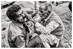 Getting groomed! (navith_k) Tags: facialhair shave rituals belief kasi varanasi alongtheghats ghatsofvaranasi varanasidiaries streetphotography streetlife incredibleindia asianmen shaving gangariver ganges holycity blackandwhitephotography monochrome bnwphotography indiainblackandwhite travelphotography traveldiaries indiantraveldiaries travelphotographyinindia ghatlife poverty indianculture religion hinduism oldestcity ghats