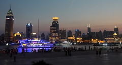 Shanghai city skyline at dusk, China (Germán Vogel) Tags: asia eastasia china travel traveldestinations traveltourism tourism touristattraction landmark holidaydestination famousplace urbanskyline city cityscape urbanlandscape dusk river riverside waterfront promenade night thebund downtowndistrict citylights citypulse skyline huangpo dailylife citylife people recreation
