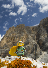 High Point (Koeau) Tags: dolomites falzarego lagazuoi alps dolomiti mountain montagna alpi space retro high point hero warrior lego minifigure science fiction sci fi rocks roccia lichens licheni orange yellow blue giallo arancio brave suit toy fun valley