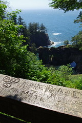 Oregon Coast Trail (EllenJo) Tags: oregon or ellenjo summervacation roadtrip summer2017 pentaxk1 adventure grafitti graffitti carved names oct oregoncoasttrail naturalbridgesoverlook oregoncoast railing wood wooden