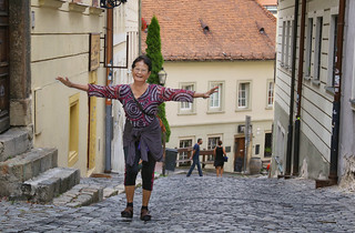 Grandma Bunrod flying through the Old town of Bratislava