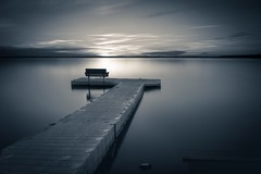 Dock (vaibhav.pandeys) Tags: blackwhite nikond750 nikon canada alberta travel longexposure goldenhour clouds sun dusk sunset evening pier reflection water lake dock