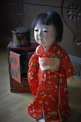Kazue (shero6820) Tags: old vintage antique toys dolls ningyo ichimatsu gofun japan lacquer silk cotton kimono oriental