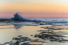 Rocky Sunrise Seascape (Merrillie) Tags: daybreak landscape nature rocky terrigal sunrise centralcoast earlymornings newsouthwales rocks earlymorning nsw water sea scenery clouds travel coastal scenic dawn theskillion seascape skillion coast waterscape australia