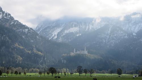 Neuschwanstein Castle in the Bavarian Alps near Schwangau