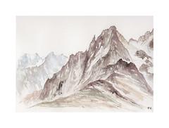 Les Grands Charmoz (Yvan LEMEUR) Tags: aquarelle watercolour acuarela aiguillesdechamonix grandscharmoz aiguilledelarépublique montblanc massifdumontblanc mountain montagne hautemontagne peinture chamonix valléedechamonix