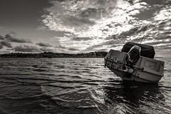 Looking across to Appledore from Instow beach (_John Hikins) Tags: nikon d5500 devon seaside sea black bw blackwhite blackandwhite boat boats monochrome white water waves clouds nikkor 1020mm 1020