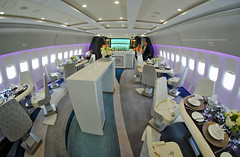 Crystal Luxury Air Boeing 777 Lounge (Infinity & Beyond Photography: Kev Cook) Tags: crystal luxury air boeing 777 b777 bar lounge area interior cabin formal samyang 8mm fisheye p4xtl
