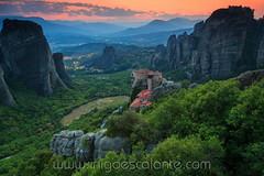 Meteora hanging monasteries (Iñigo Escalante) Tags: meteora greece europe hidden secret summer 2017 monastery sunset green forest rocks peak valley kalambaka continental sky