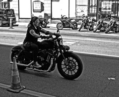 Mods vs. Rockers (tacosnachosburritos) Tags: chicago windy city urban modsvsrockers scooters vespa motorcycle motorbike rockabilly street photography thestreets culture underground twowheels machina triumph harley indian guy man girl chick lady woman edgy rally
