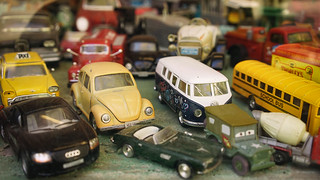 Toy cars in shop window