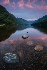Sunrise at Glendalough Upper Lake #2, County Wicklow, Ireland. (Anthony Lawlor) Tags: sunrise ireland wicklow water lake reflection reflections sky clouds colour warm morning still sony sigma1020mm wideangle a77 digital pink purple mountains valley glendalough upper