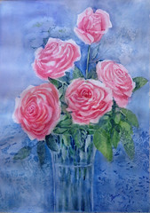 Jarron con Rosas (benilder) Tags: roses rosas flower watercolor watercolour acuarela aquarelle benilde