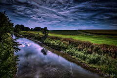 Darkness And Light (myoldpostcards) Tags: rural country landscape creek lakefork stream saltcreek water clear reflection season summer countyroad 1000thavenue 1125thstreet logancounty centralillinois illinois il myoldpostcards randall randy vonliski canon eos 5dmarkiv darknessandlight night day atmosphere