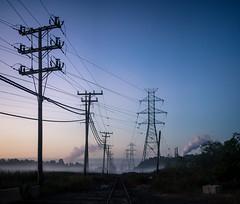 Hawkins Point Railways (seikoesquepayne) Tags: olympus landscape stitched em1 industrial 25mm f12 tracks fog mzuiko powerlines omd railroad
