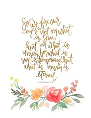 Inspirational Quotes about Strength: Hand Lettered Watercolor Art Print 2 Corinthians 4:18 by AprylMade on Etsy… (omgquotes.com) Tags: quotes life love inspirational motivational