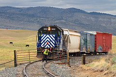 Harrison gates (Moffat Road) Tags: montanaraillink mrl local localfreight cattlegate gate harrisonbranch emd gp35 403 locomotive harrison montana mt
