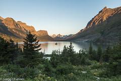 Sunrise alpen glow Wild Goose Island Overlook (greggohanian) Tags: glaciernationalpark stmarylake wildgooseislandoverlook sunrise alpenglow reflection wildgooseisland mountains lake nikond800 nikon2470mm nikon