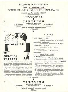THEATRE DE MONS, LA TERESINA, 16/12/1937