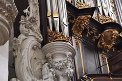 Dordrecht, Zuid-Holland, Grote Kerk, main organ, detail (groenling) Tags: dordrecht dordt zuidholland netherlands nederland nl grotekerk orgel organ hoofdorgel case kast orgelkast façade front wood carving woodcarving hout snijwerk houtsnijwerk