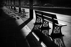 train station (Daz Smith) Tags: dazsmith fujixt20 fuji xt20 andwhite bath city streetphotography people candid portrait citylife thecity urban streets uk monochrome blancoynegro blackandwhite mono silhouette benches chairs trainstation sunrise