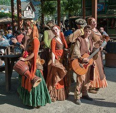 Gypsy band (Lena and Igor) Tags: travel america usa unitedstates bristolrenaissancefair wisconsin us panasonic dmc lumix gx85 gx80 tamron 14150 mft microfourthird performance chorus music musicalinstruments sunlit crowd people portrait gypsy band