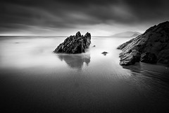 Tranquility (marcmyr) Tags: bw dramatic strand beach ireland peaceful tranquility exposure long water ocean sea rock reflection nature natur nikon d5200 fels spiegelung black white coast rocky sky art landscape