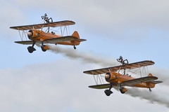 Breitling Wing Walkers No2 and No4 (Kentish Plumber) Tags: breitling wingwalker no2 no4 festivalofflight kent bigginhill airshow plane kentishplumber photography photos images
