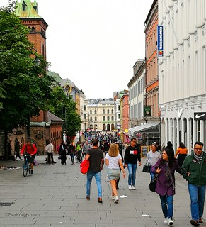 Main street in Oslo, Norway, this evening.